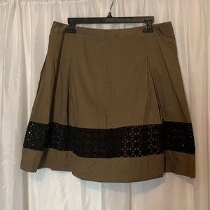 Ann Taylor Loft Green  Black Skirt size 10